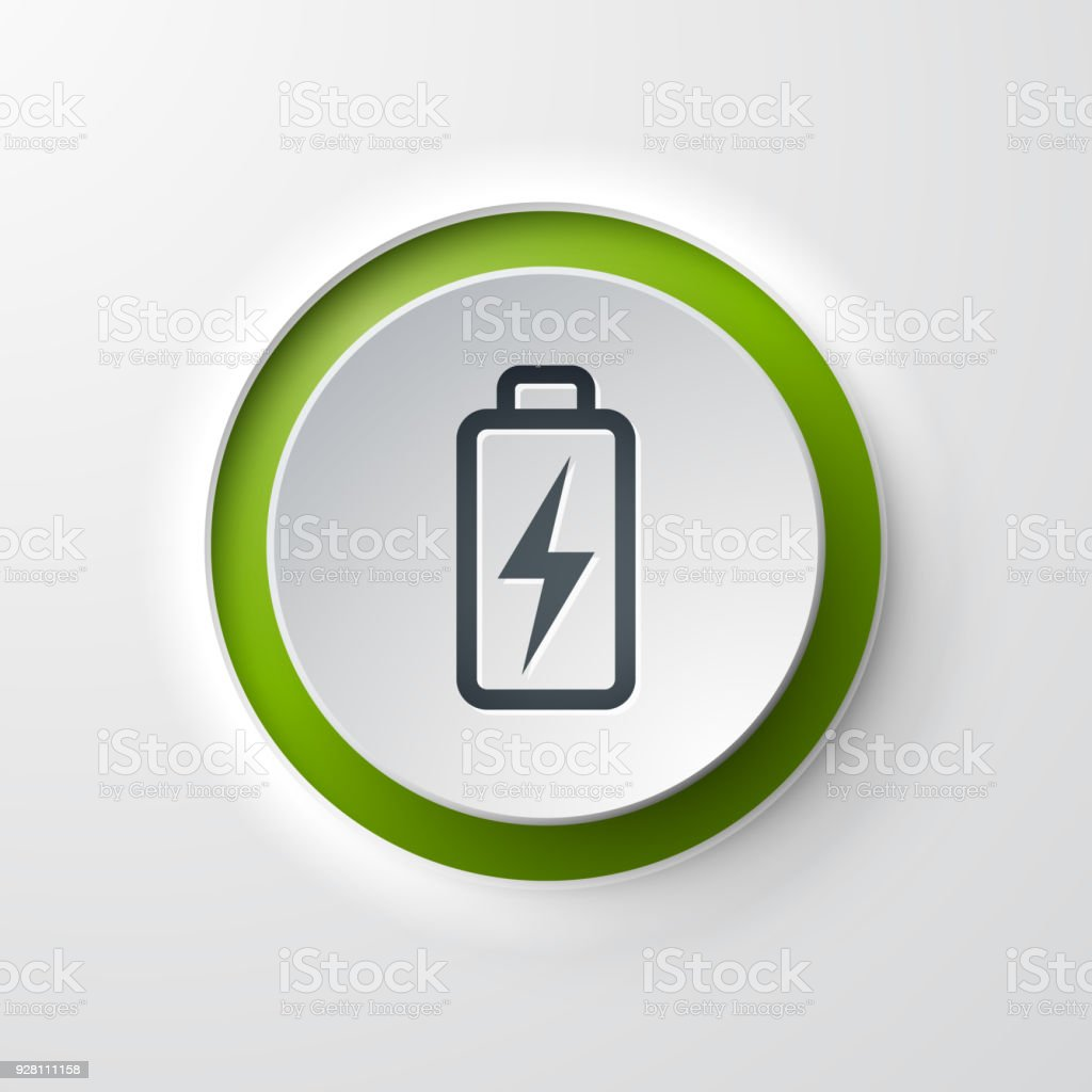 Battery web icon push button vector art illustration