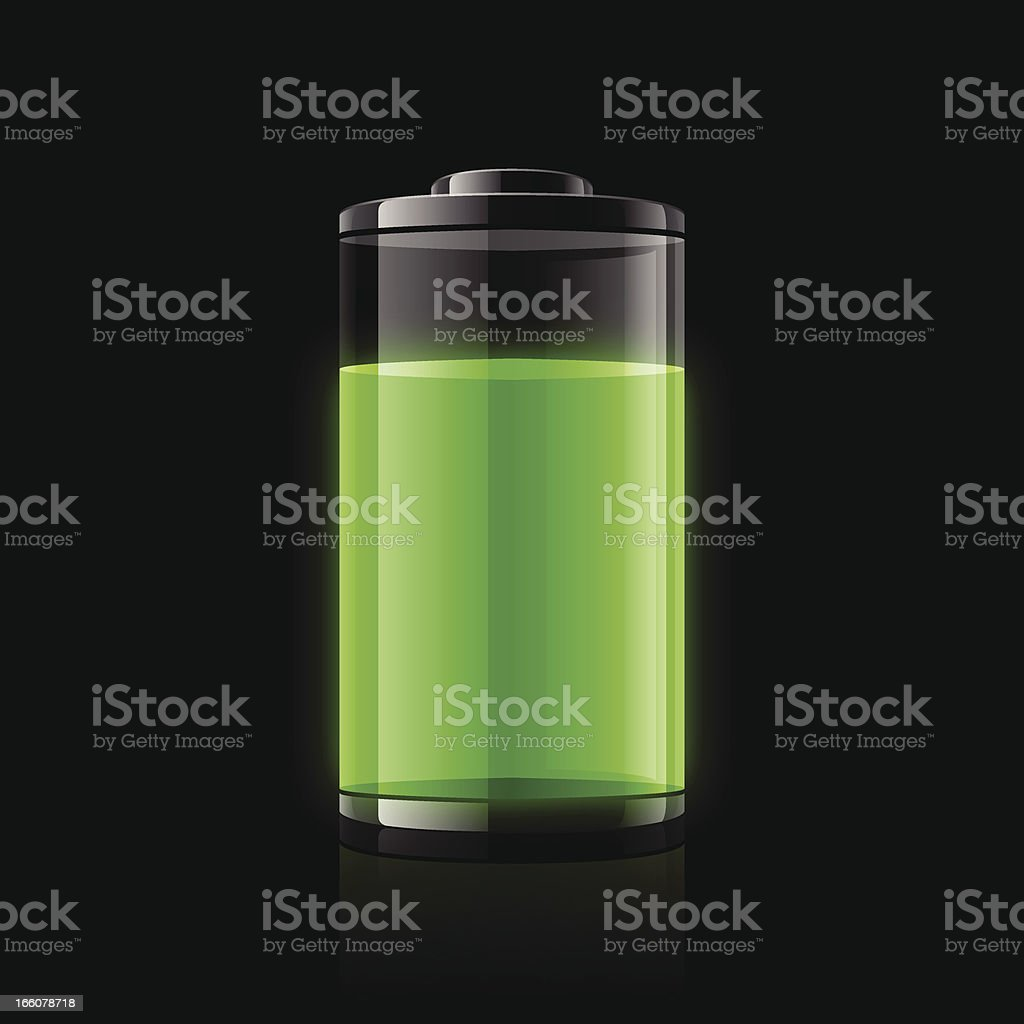 A battery with a green power indicator vector art illustration
