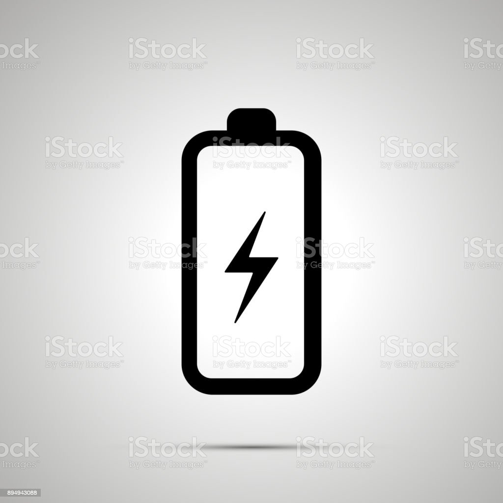 Battery With Electricity Symbol Simple Black Icon With Shadow Stock