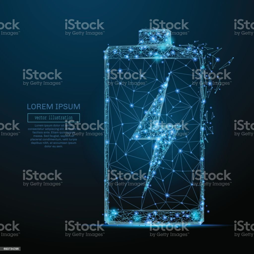 battery with lightning low poly blue vector art illustration