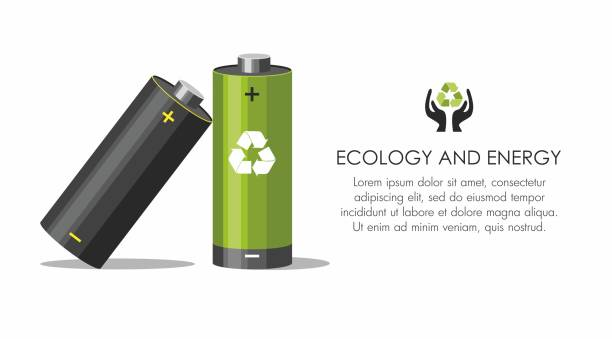 Battery with recycle symbol - renewable energy concept on white.  Battery recycling concept. Battery with recycle symbol - renewable energy concept on white.  Battery recycling concept.  Vector Illustration rechargeable battery stock illustrations