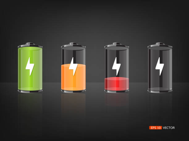 Battery with various loads and colors Battery with various loads and colors, Vector EPS 10 battery stock illustrations