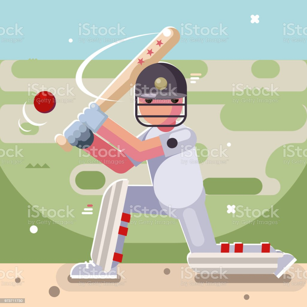 Batting sport game cricket batsman bat baseball ball field character...