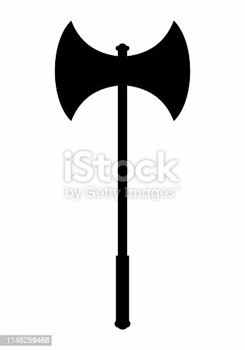 A Battle axe dark silhouette isolated on white background