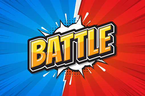 Battle background poster comic speech bubble. Vector illustration