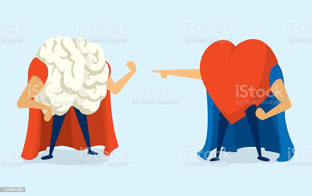 Battle between heart and brain super heros vector art illustration