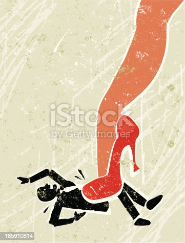 Girl Power! A stylized vector cartoon of a beautiful woman's leg crushing a man under her very high red heels,reminiscent of an old screen print poster and suggesting battle of the sexes, relationship issues, seduction, and putting your foot down. Man, leg, paper texture and background are on different layers for easy editing. Please note: clipping paths have been used, an eps version is included without the path.