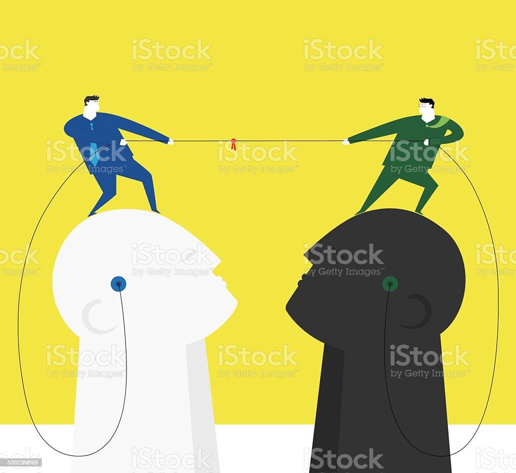Battle of wit vector art illustration