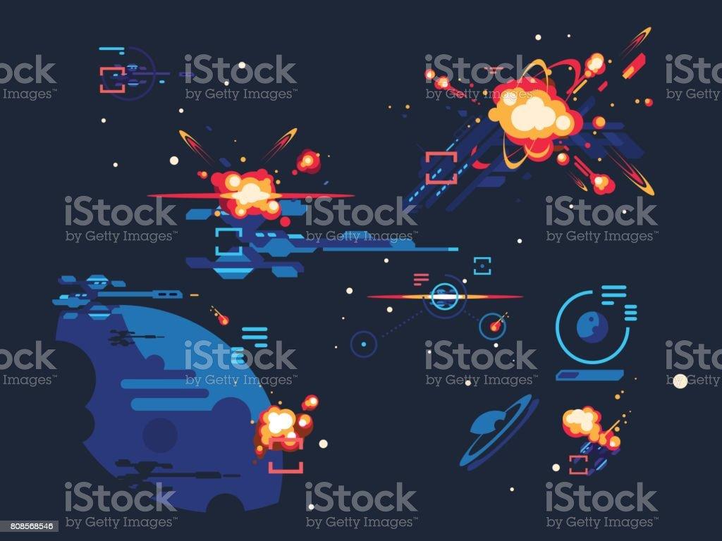 Batalla estrella espacio - ilustración de arte vectorial