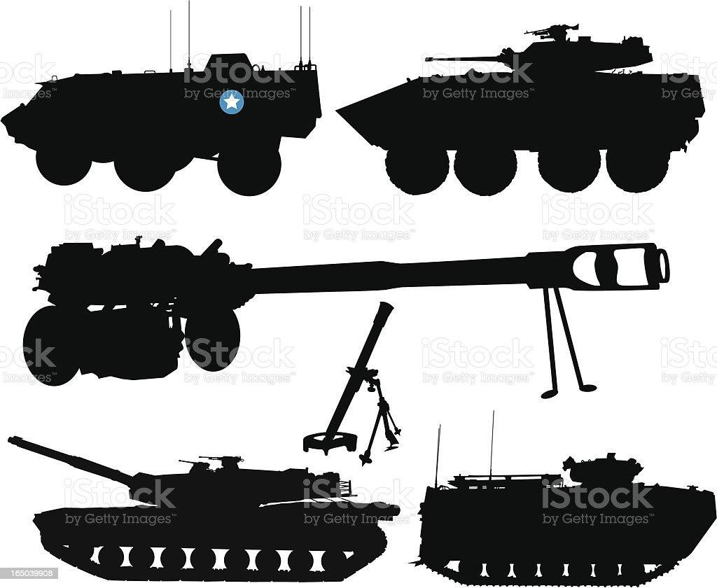 Battle Tanks and Trucks royalty-free stock vector art