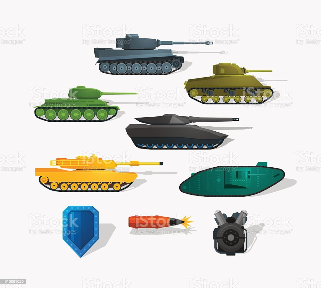 Battle tanks vector art illustration