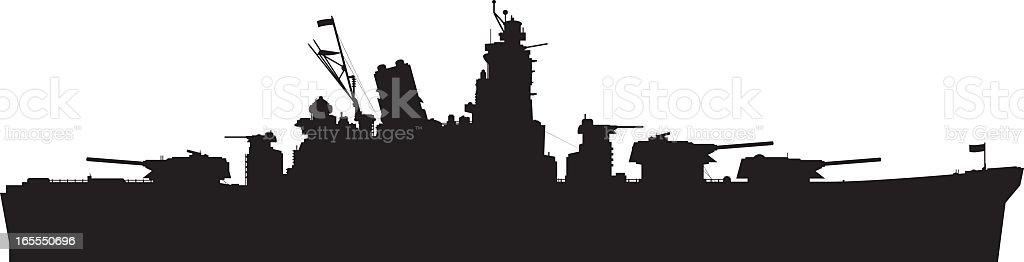Battleship vector art illustration