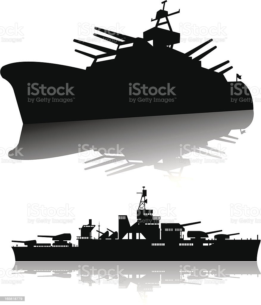 Battleships - Navy, Silhouettes vector art illustration