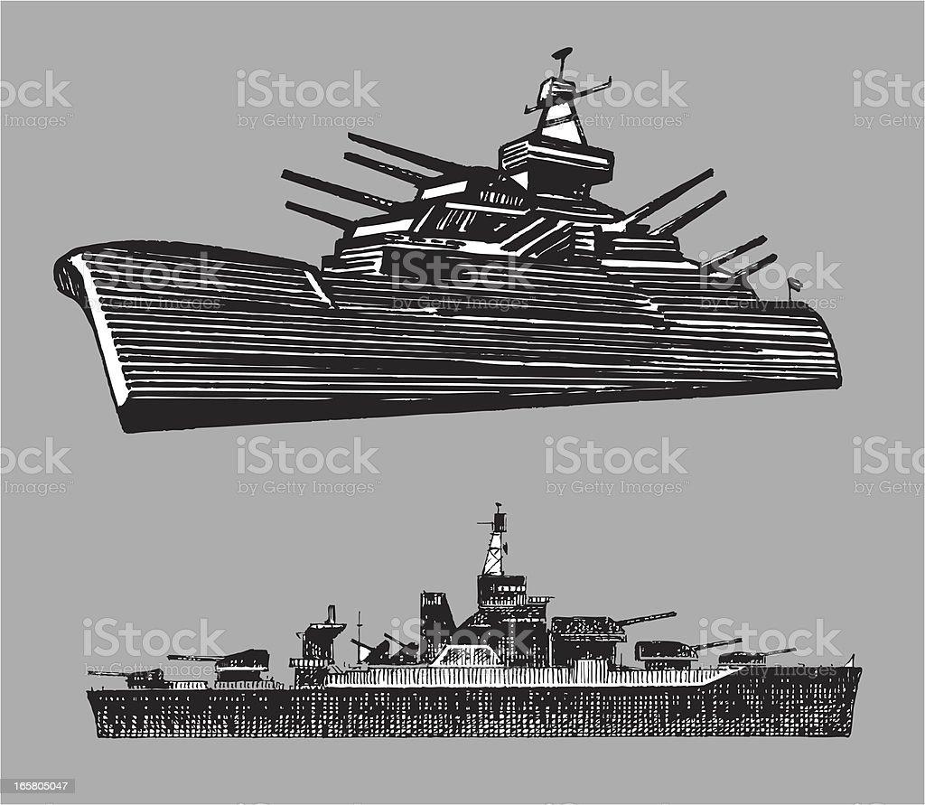 Battleships - Navy vector art illustration