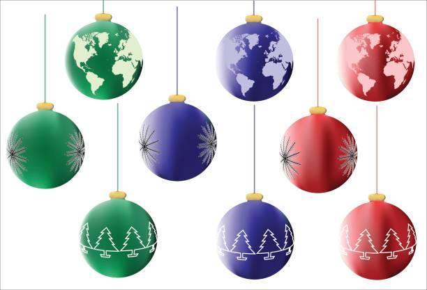 Best World Globe Christmas Ornaments Silhouette Illustrations