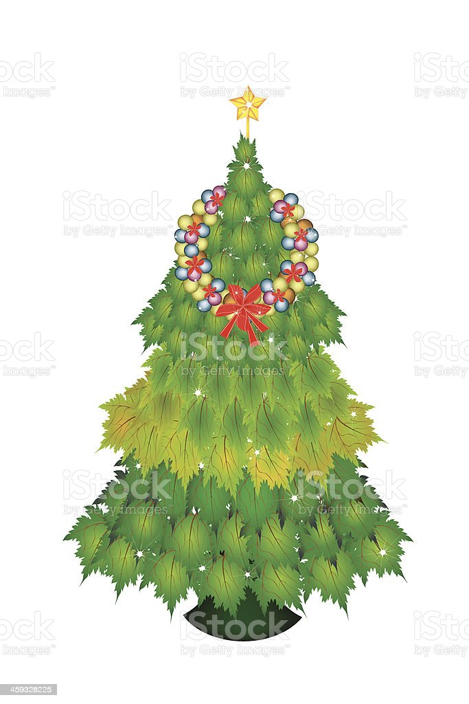 Baubles Wreath on Christmas Tree of Green Maple Leaves royalty-free baubles wreath on christmas tree of green maple leaves stock vector art & more images of arrangement