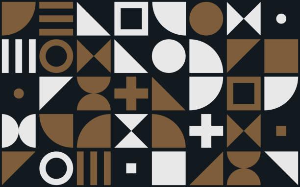bauhaus kunst vektor muster hintergrund geometrischer formen und einfache elemente der kreise, dreiecke oder quadrate und kreuz - bauhaus stock-grafiken, -clipart, -cartoons und -symbole