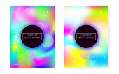 Bauhaus cover set with liquid shapes. Dynamic holographic fluid with gradient memphis background.