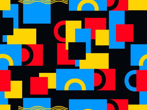 bildbanksillustrationer, clip art samt tecknat material och ikoner med bauhaus design sömlösa mönster. geometriska element retrostil. vektorillustration - konststilar
