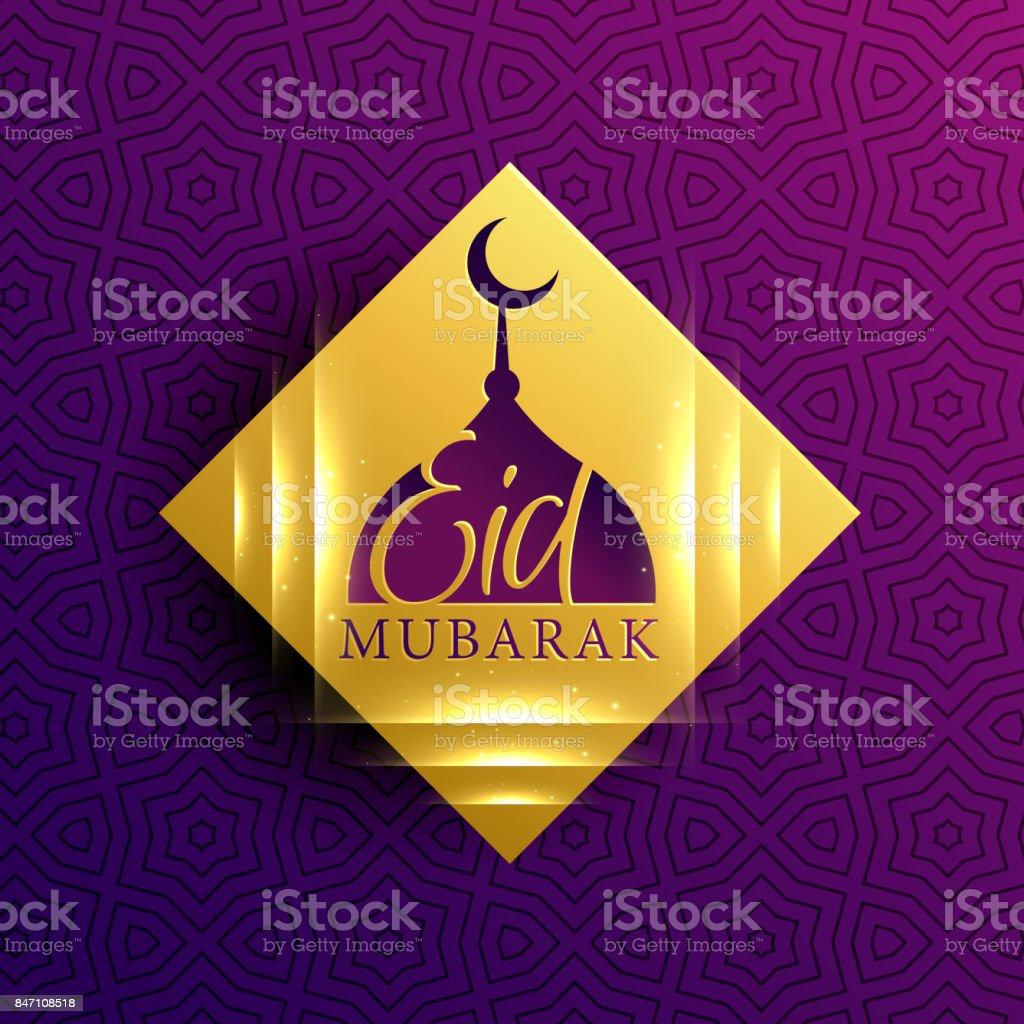 bautiful eid mubarak card on golden diamond shape vector art illustration