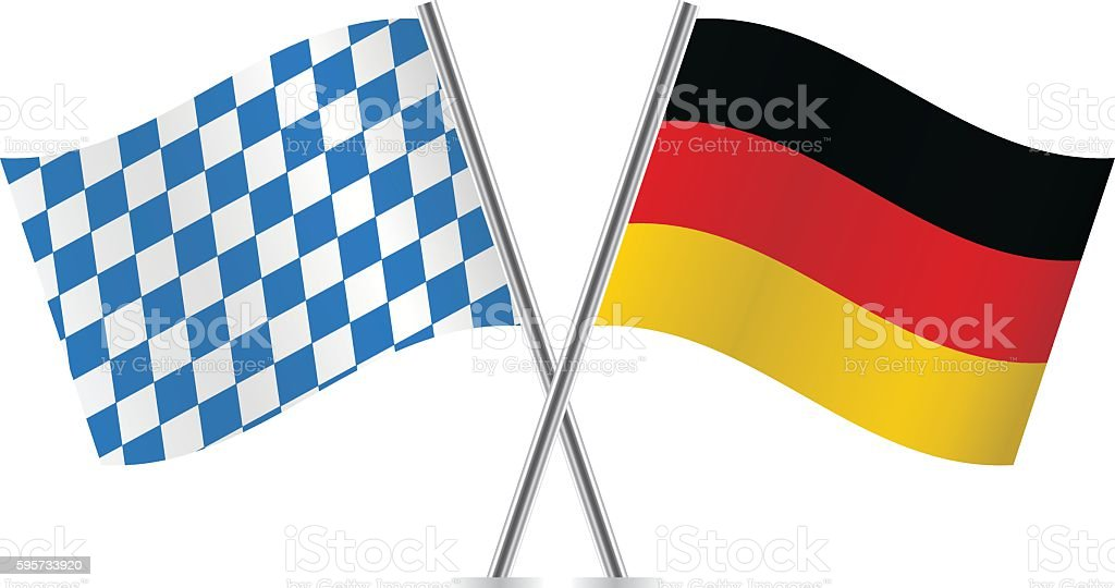 Bavaria and Germany flags. vector art illustration