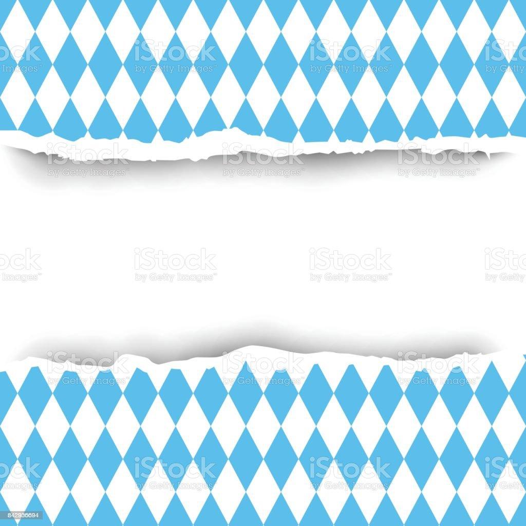 Bayern Fahne Riss Papier Musterdesign Hintergrund Dekoration Kopie Raumkonzept – Vektorgrafik