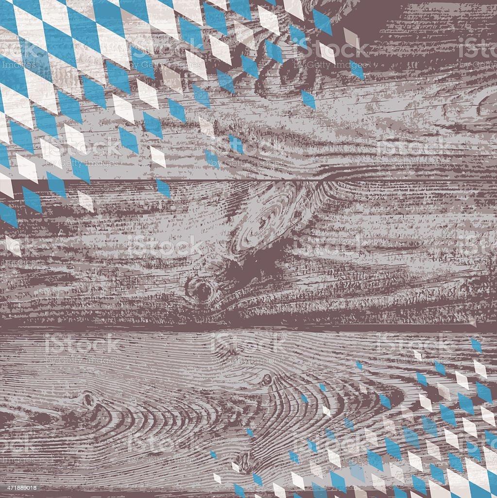Bayerische Hintergrund mit Holz und blau-weiß Muster – Vektorgrafik