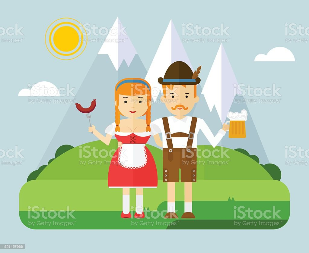 bavarian couple with beer and sausages in mountaine vector art illustration