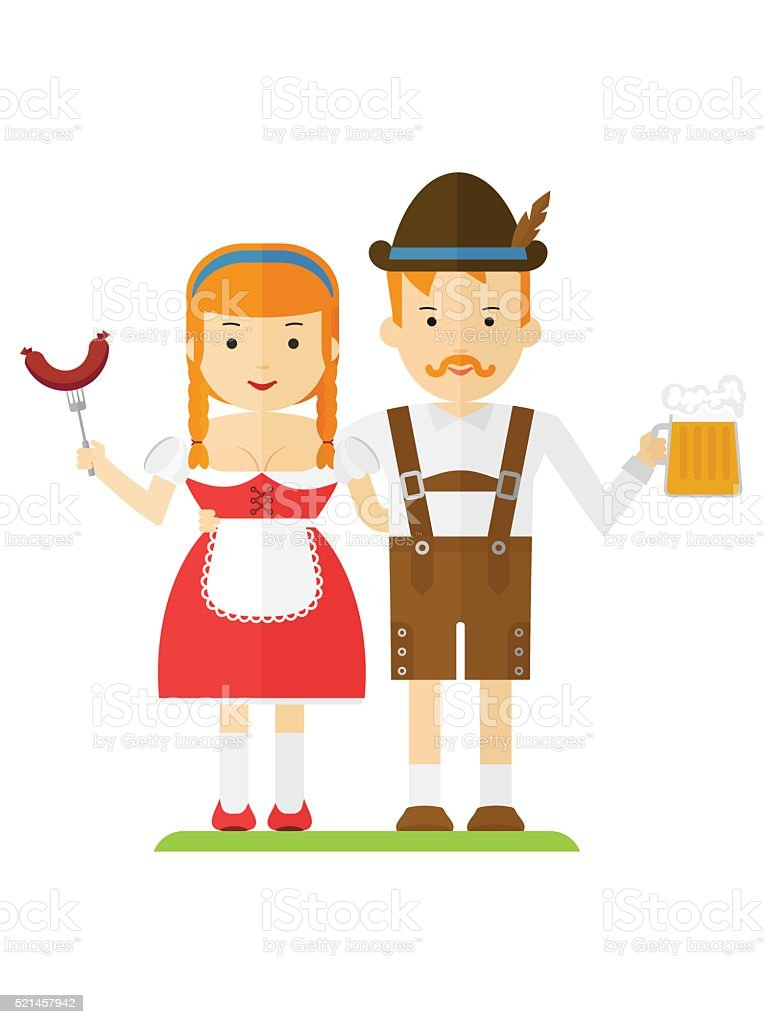 bavarian couple with beer and sausages vector art illustration