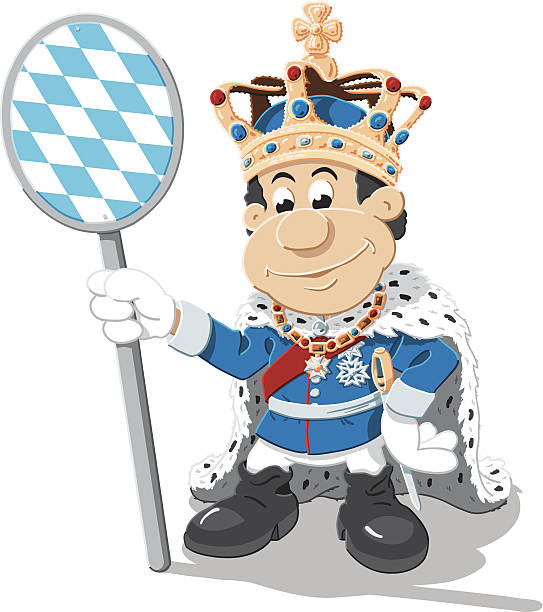 Bavarian Flag Sign King Cartoon Man Isolated Vector Illustration of a cartoon king, who is holding a bavarian flag sign. The illustration is on a transparent background (.eps-file). The colors in the .eps-file are ready for print (CMYK). Included files: EPS (v8) and Hi-Res JPG. cartoon people sign stock illustrations