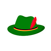 Bavarian Green Alpine Hat isolated on white. Traditional Oktoberfest symbol. Flat vector icon. Easy to edit template for your logo design,  poster, banner, flyer, t-shirt, invitation, etc.