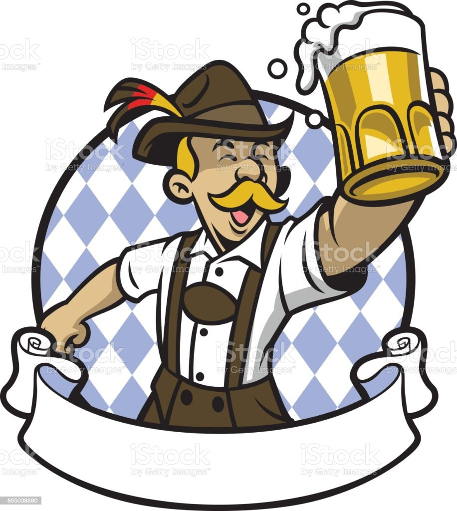 bavarian man celebrating oktoberfest with a big glass of beer vector art illustration