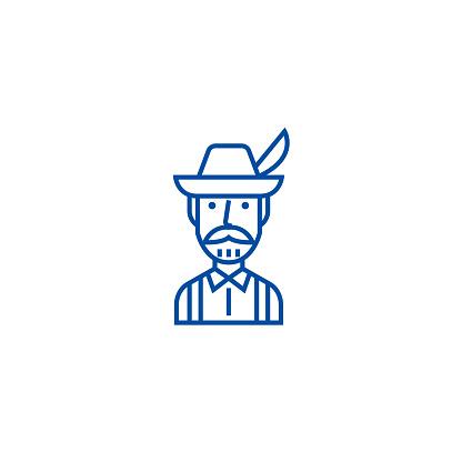 Bavarian man line icon concept. Bavarian man flat  vector symbol, sign, outline illustration.