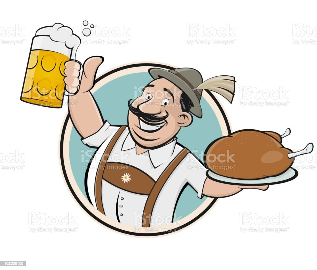 bavarian man with beer and chicken sign vector art illustration