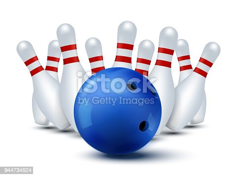 istock Bawling template isolated. Vector bowling ball and skittles 944734524