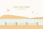 Abstract landscape with text nature park. Vector illustration, relax, vacation, trip concept.