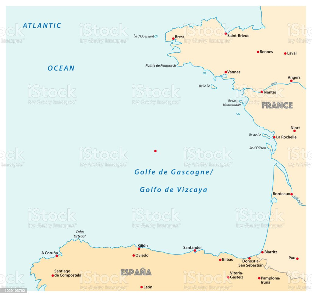 Bay Of Biscaya Map France Spain Stock Vector Art More Images Of