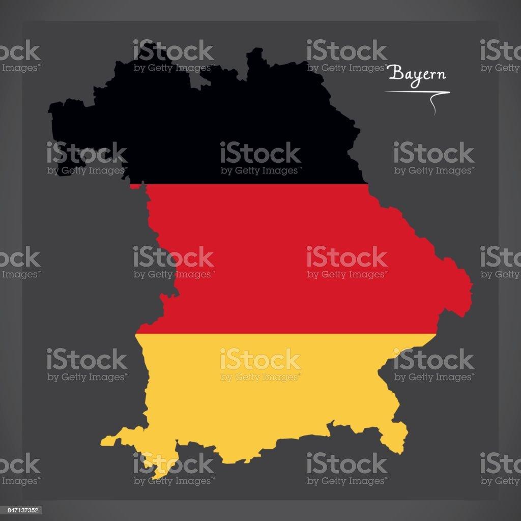 Bayern-Karte von Deutschland mit deutschen Nationalflagge illustration – Vektorgrafik
