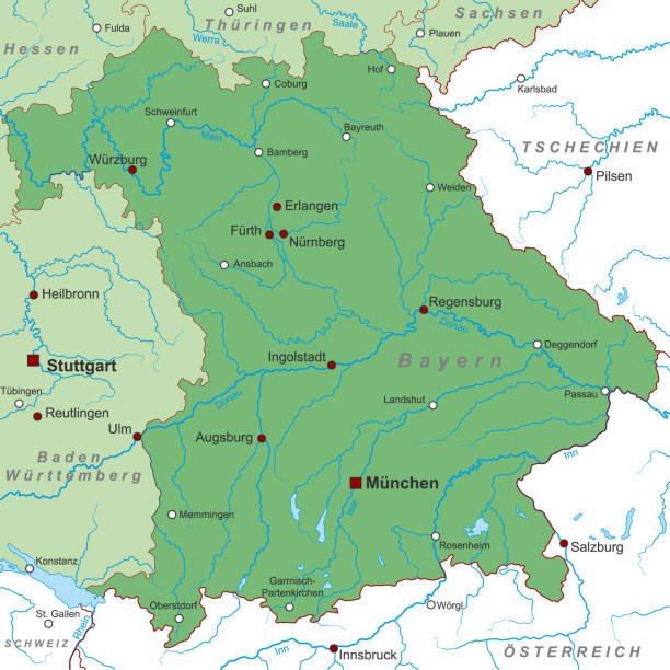 bayern_landkarte_gw_schrift Bayern - Map of Germany (high detailed) lachen stock illustrations