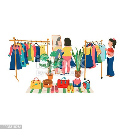 Colorful doodle clothing shop with people shopping at the weekend flea market, all on white background, illustration, vector.
