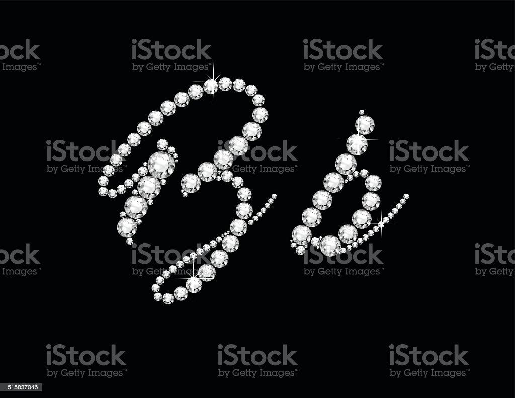 Bb Diamond Script Jeweled Font vector art illustration