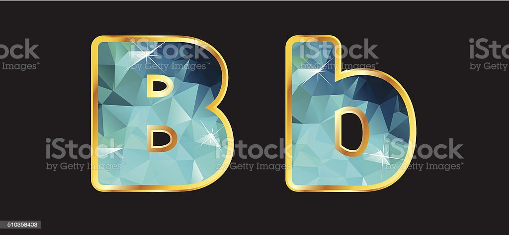 Bb with Gold and Teal vector art illustration