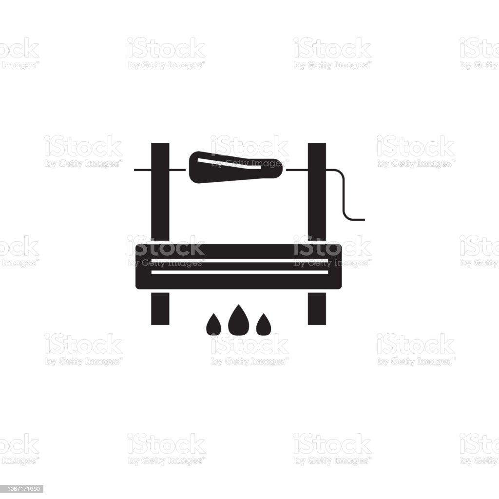 Bbg cooking black vector concept icon. Bbg cooking flat illustration, sign vector art illustration