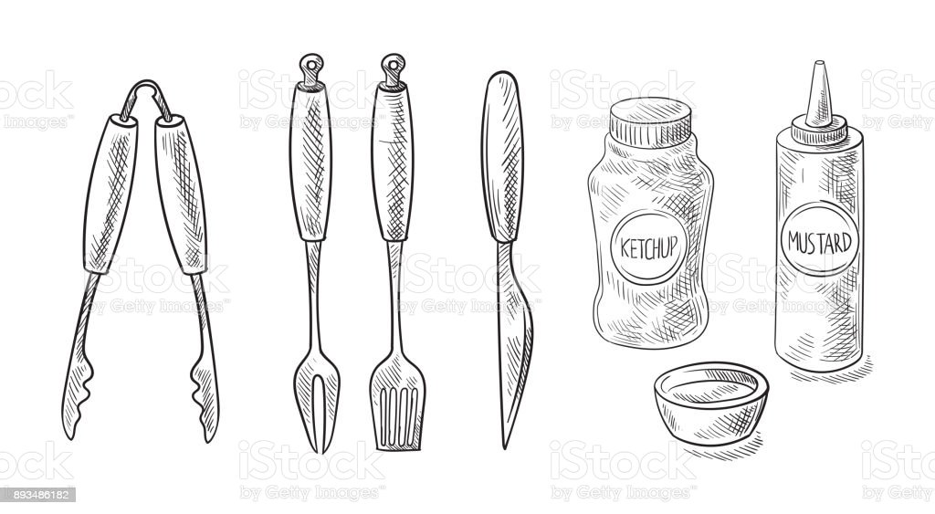 bbq and grill tools isolated on white background. vector art illustration