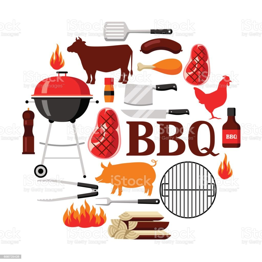 Bbq background with grill objects and icons vector art illustration