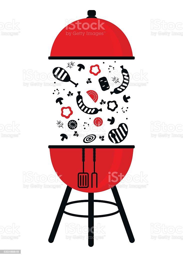 bbq grill pan red black vector art illustration