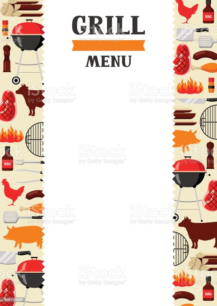 Bbq menu background with grill objects and icons vector art illustration