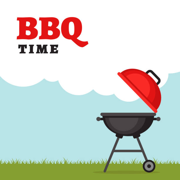 Bbq party background with grill and fire. Barbecue poster. Flat style, vector illustration. vector art illustration
