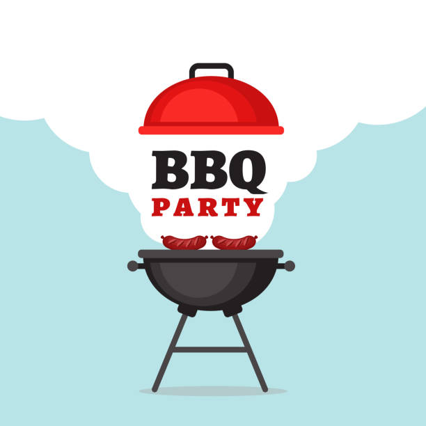 bbq party background with grill and fire. barbecue poster. flat style, vector illustration. - grilling stock illustrations