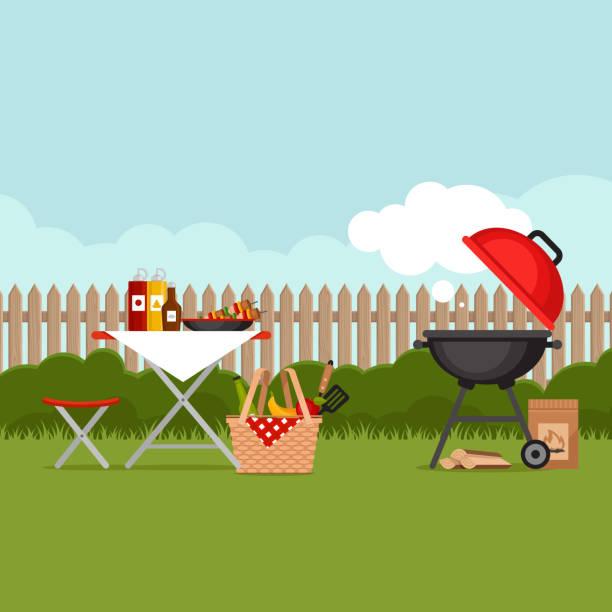 tło imprezy grilla z grillem. plakat z grillem. płaski styl, ilustracja wektorowa. - barbecue stock illustrations